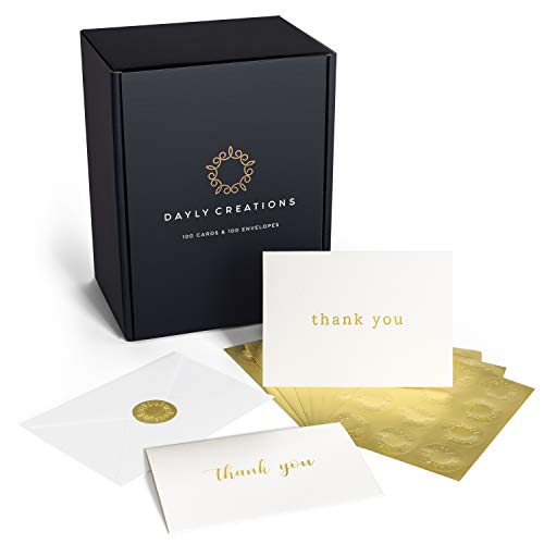 Blank Note Cards with Envelopes – 100 Thank You Cards Bulk – Perfect