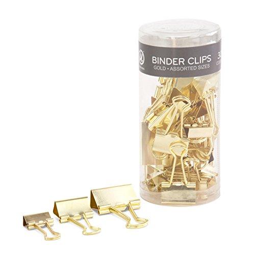 U Brands Binder Clips, Assorted Sizes, Gold Steel, 30